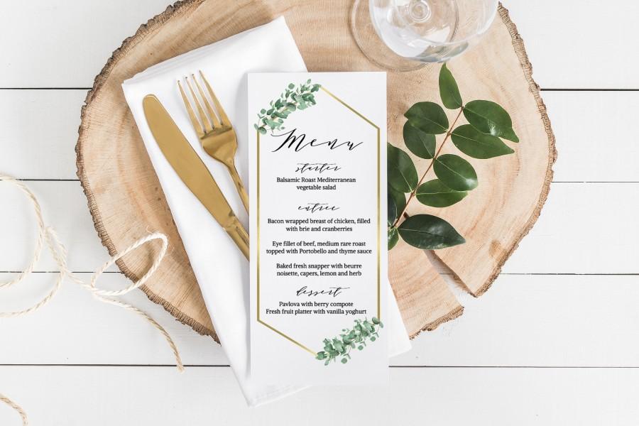 Mariage - Eucalyptus Printable Menu Cards