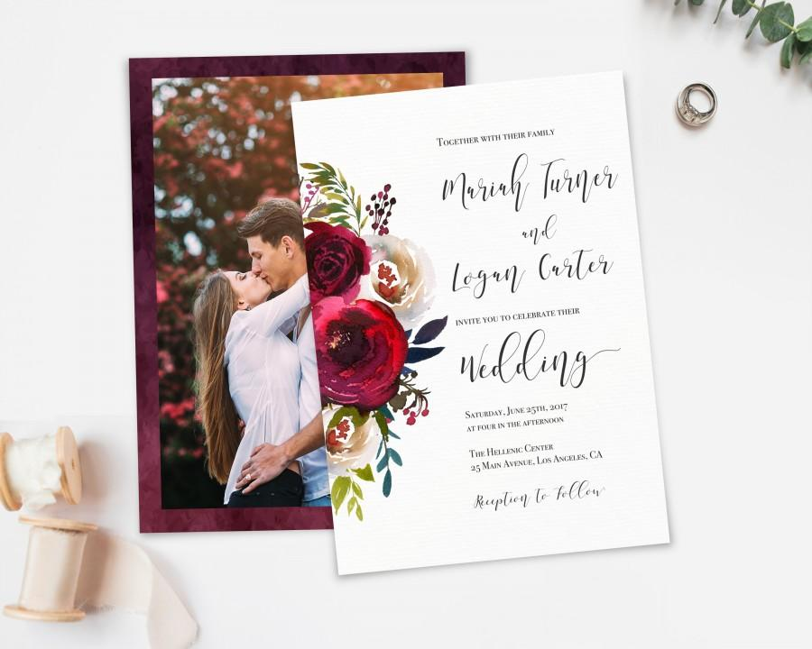 Mariage - Wedding Invitation, Printable Template, Editable Wedding Invitations, Burgundy Pearl Watercolor Floral, Invite Wedding picture photo, LDS