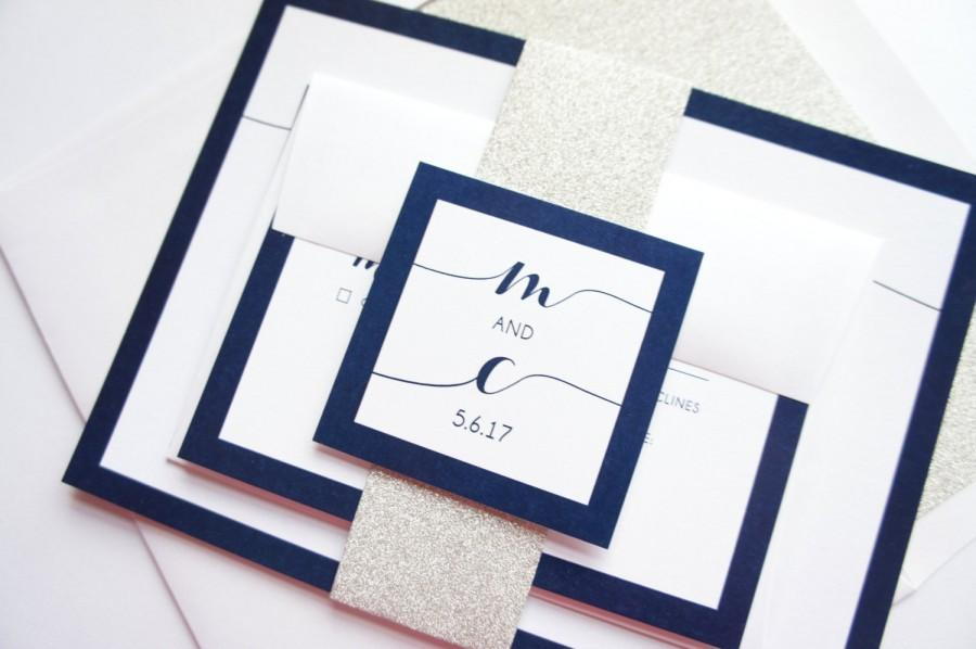 Hochzeit - Wedding Invitation - Navy Script Wedding Invitation with matching RSVP, Navy and Silver Glitter Wedding Invitations - SAMPLE