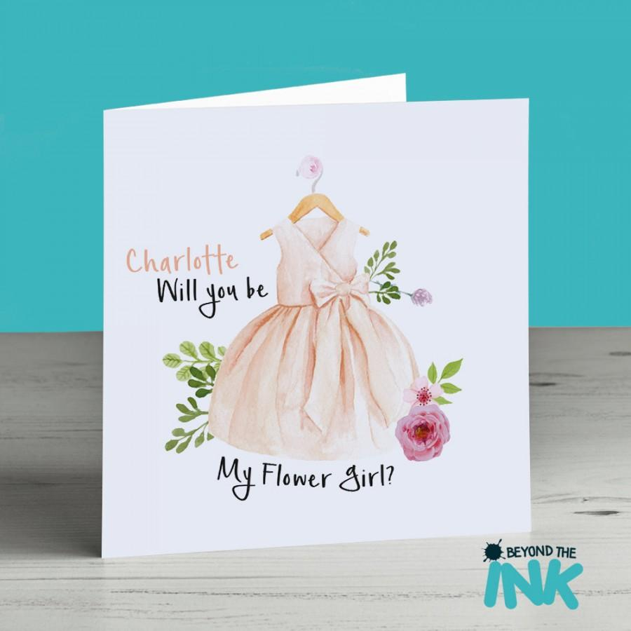 Mariage - Personalised Flower Girl Card - Flower Girl Proposal - Will You Be My Flower Girl - Cute - Classy - Pretty - Wedding Invitation - Peach