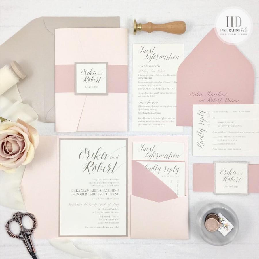 Mariage - Blush and Dusty Rose Pocket Wedding Invitations, Blush and Champagne Wedding Invitations with Dusty Rose Accents