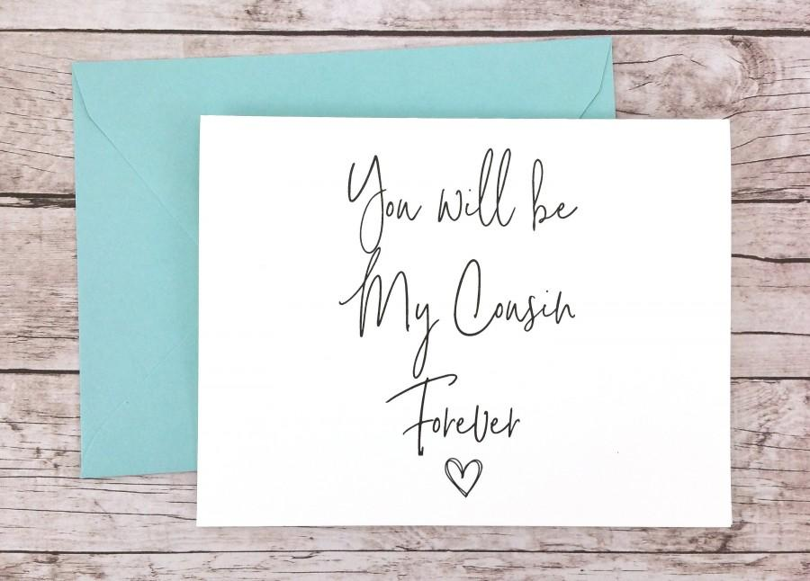 Hochzeit - You Will Be My Cousin Forever Card, Bridesmaid Proposal Card, Will You Be My Bridesmaid Card, Cousin Card, Maid of Honor Card - (FPS0061)