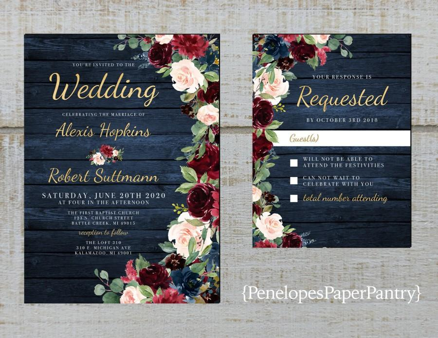 Hochzeit - Rustic Navy Floral Fall Wedding Invitation,Burgundy,Blush,Navy Blue,Roses,Barn Wood,Gold Print,Shimmery,Printed Invitation,Wedding Set