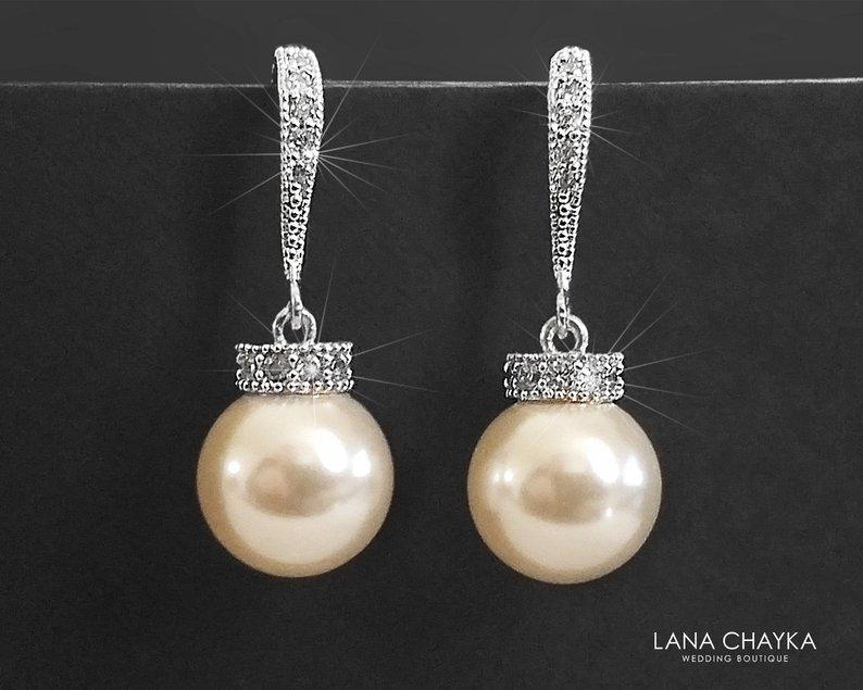 Wedding - Bridal Pearl Earrings, Simple White or Ivory Pearl Earrings, Swarovski 10mm Pearl Drop Earrings, Bridal Jewelry, Classic Wedding Earrings