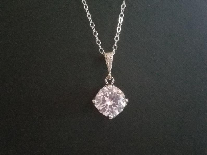 Wedding - Cubic Zirconia Bridal Necklace, Sparkly Crystal Silver Necklace, Wedding Zirconia Necklace, Bridal Cubic Zirconia Jewelry, Charm Necklace