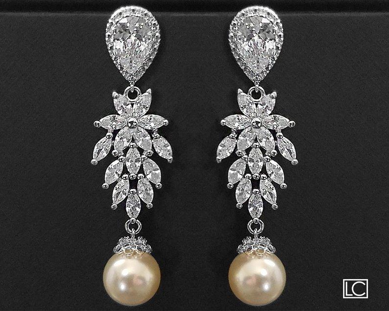 Wedding - Wedding Pearl Chandelier Earrings, Cluster Bridal Earrings, Swarovski Ivory Pear Earrings, Leaf Crystal Earrings, Cubic Zirconia Jewelry