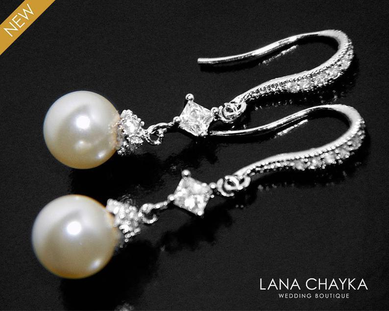 Wedding - Pearl Bridal Earrings, Swarovski 8mm Ivory Pearl Dangle Earrings, Dainty Pearl Earrings, Wedding Ivory Pearl Earrings, Pearl Bridal Jewelry