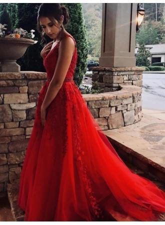 Wedding - Modern Abendkleider Lang Rot