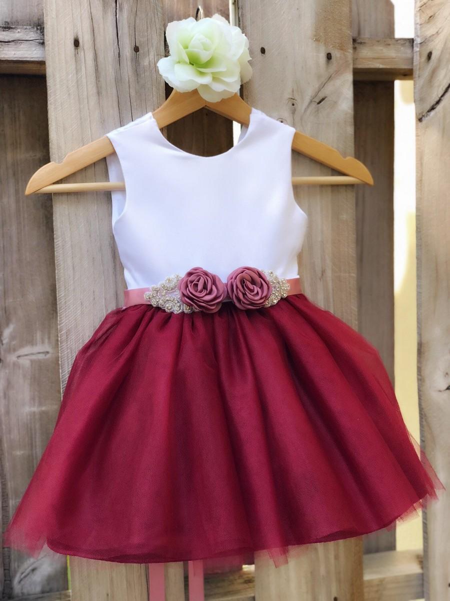 Wedding - Burgundy Flower Girl Dress with Rhinestone Flower Sash. Elegant White Satin and Burgundy Tulle Flower Girl Dresses, Burgundy Wedding