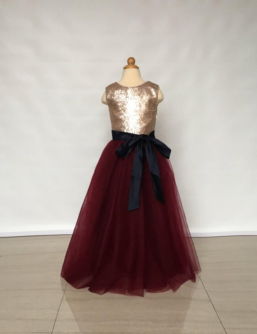 Mariage - Floor-Length Matte Champagne Gold Sequin Burgundy Tulle Flower Girl Dress with Black Sash