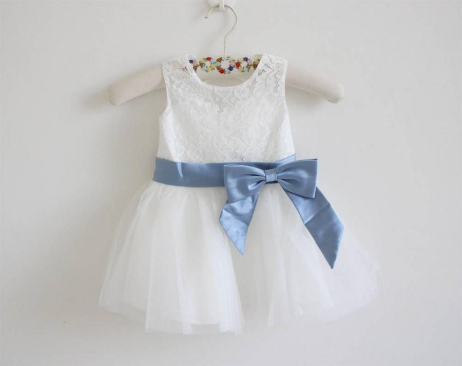 Hochzeit - Light Ivory Lace Flower Girl Dress Dusty Blue Ribbon Baby Girl Dress Lace Tulle Ivory Flower Girl Dress With Steel Blue Sash/Bows Sleeveless