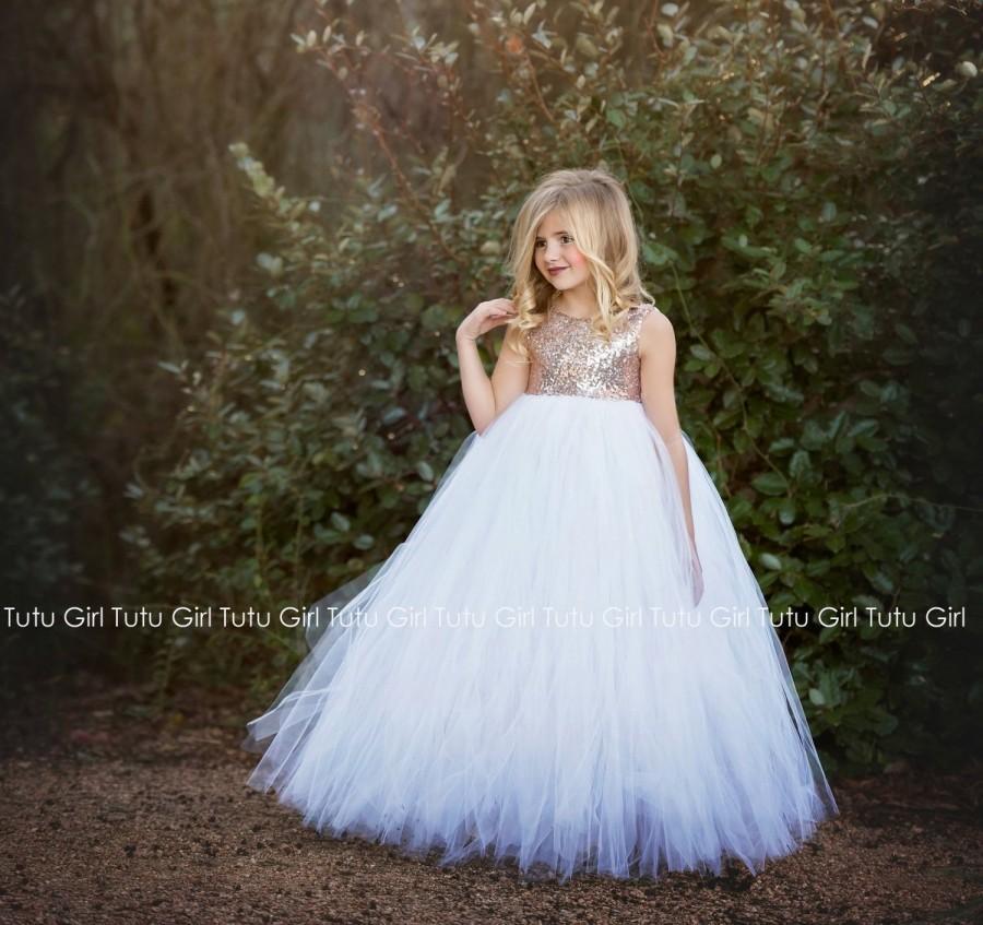 Hochzeit - Blush Gold Flower Girl Dress, Blush Sequin Sleeveless Tutu Dress, Blush Gold Tutu Dress, Rose Gold Flower Girl Dress with White Tulle Skirt