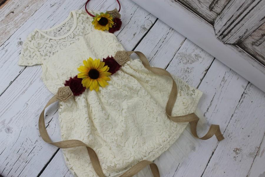 Mariage - Rustic Flower Girl Dress Burgundy Sunflower Sash Ivory Lace Flower Girl Dress