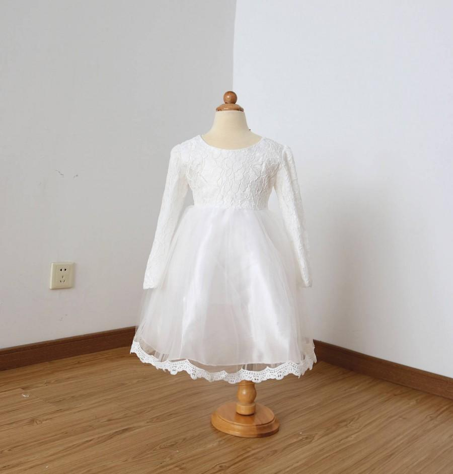 Hochzeit - Long Sleeves Ivory Lace Tulle Flower Girl Dress with Lace Edge