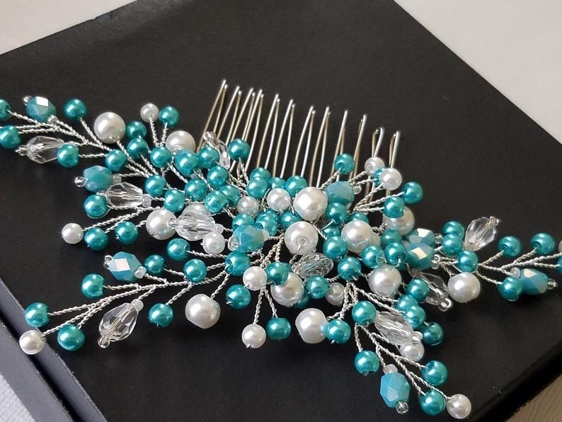 Wedding - Pearl Bridal Hair Comb, Blue Turquoise White Wedding Comb, Teal White Hairpiece, Pearl Bridal Headpiece, Pearl Hair Jewelry, Prom Hair Comb
