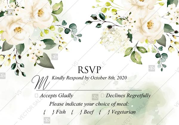 Rsvp Card White Rose Peony Greenery Watercolor Wedding