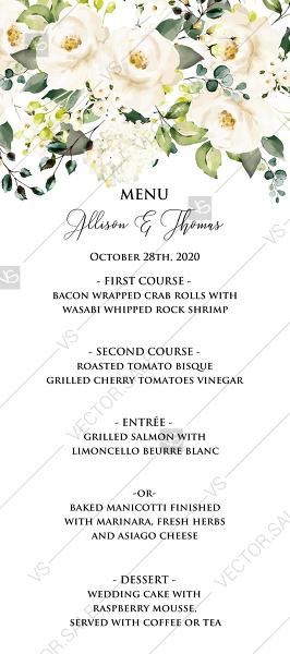 Mariage - Wedding menu white rose peony greenery watercolor free custom online editor 4''*9''