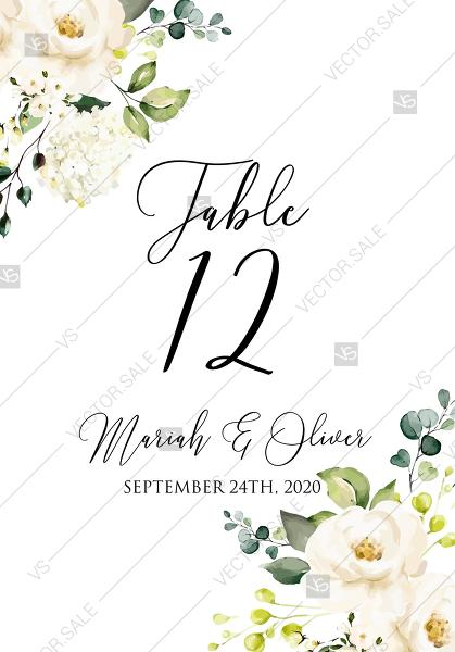 Mariage - Table number card White rose peony greenery watercolor free custom online editor 3.5''*5''