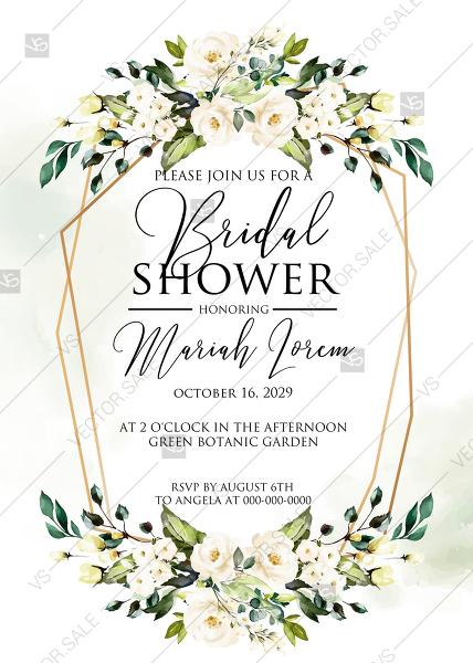 Wedding - White rose peony greenery watercolor bridal shower invitation free custom online editor 5''*7''