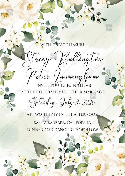 Wedding - White rose peony greenery watercolor wedding invitation free custom online editor 5''*7''