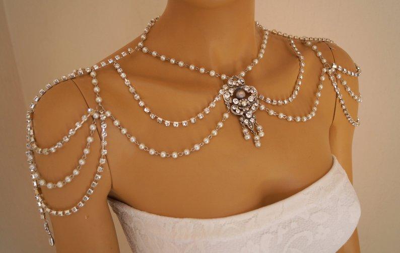 Wedding - Wedding shoulder necklace,Art deco shoulder jewelry,Pearl shoulder necklace,Rhinestone swarovski shoulder jewelry,Bridal shoulder necklace