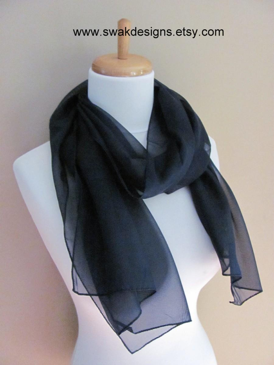 Свадьба - Navy Blue Chiffon Scarf Scarf - Bridesmaid Wedding Scarf Chiffon Wrap Bridesmaid Scarf Special Occasion Wrap