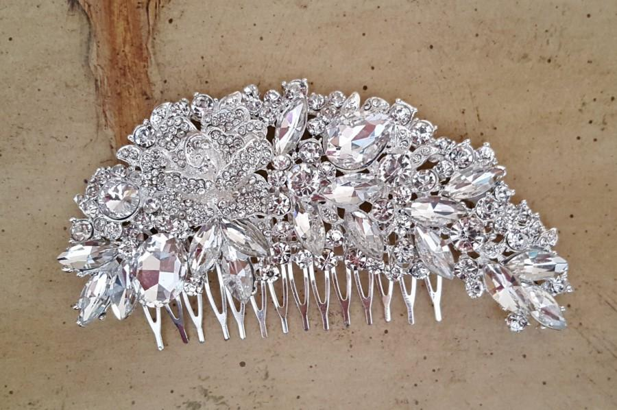 Hochzeit - Gatsby Wedding Hair Comb, Crystal Bridal Hair Comb, Art Deco Wedding Hair Piece,  Bridal Hair Accessory