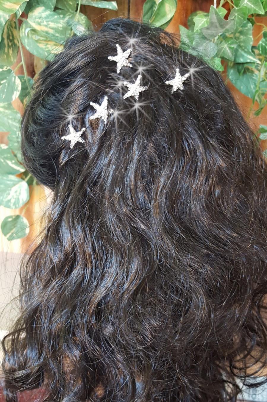 Hochzeit - Starfish Hair Pins, Wedding Hair Pins,  Rhinestone Bridal Hair Piece, Beach Wedding,  Starfish Hairpins for Beach Wedding,