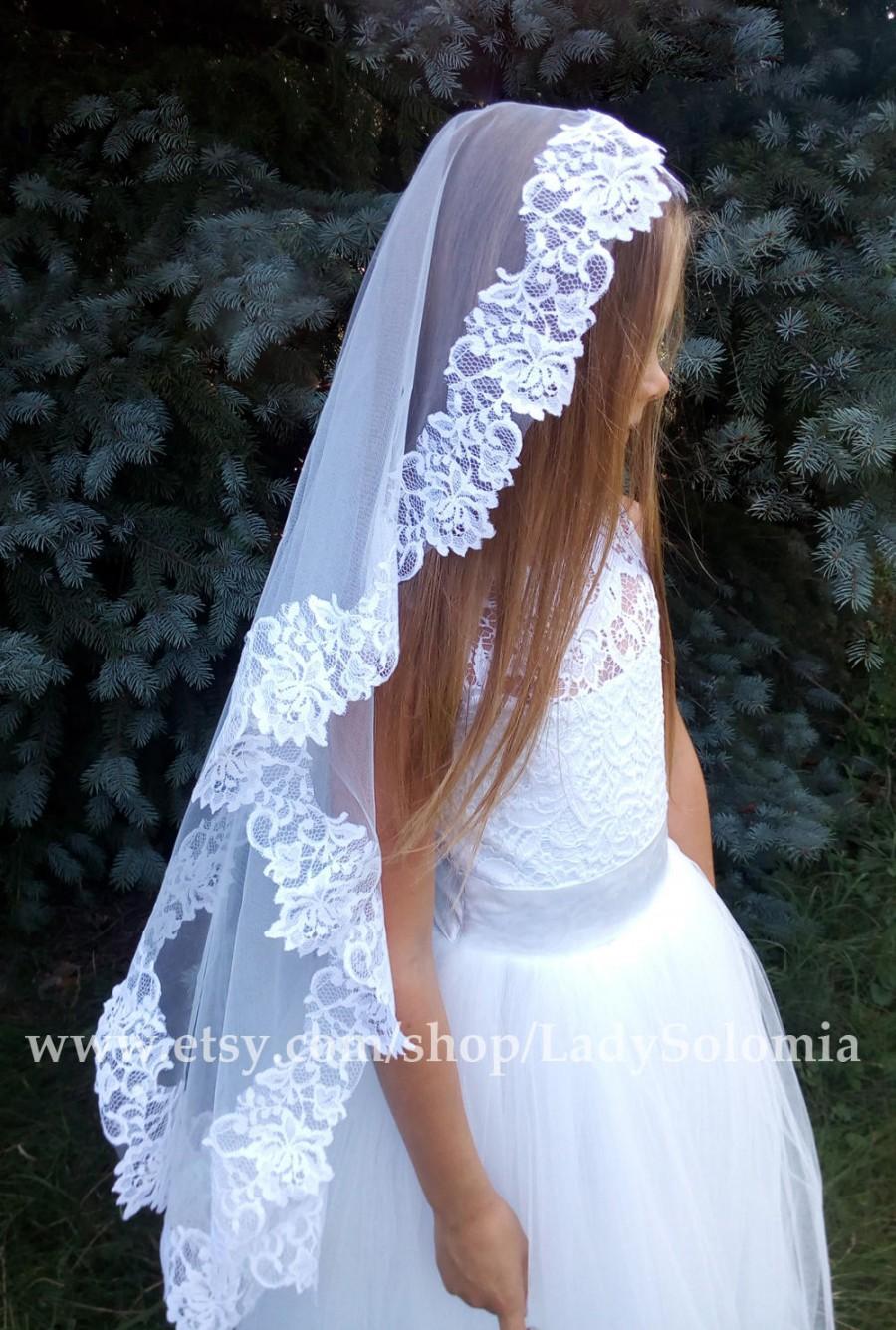 Wedding - First communion veils, Mantilla Communion Veil, Lace Communion Veil, Holy Communion, Flower girl veils, Lace Mantilla Communion, White veils