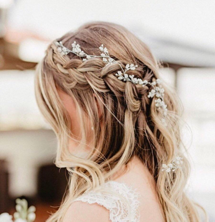 Hochzeit - Wedding Hair Accessory Perfect For The Boho Bride, Silver Or Gold Baby's Breath Hair Vine