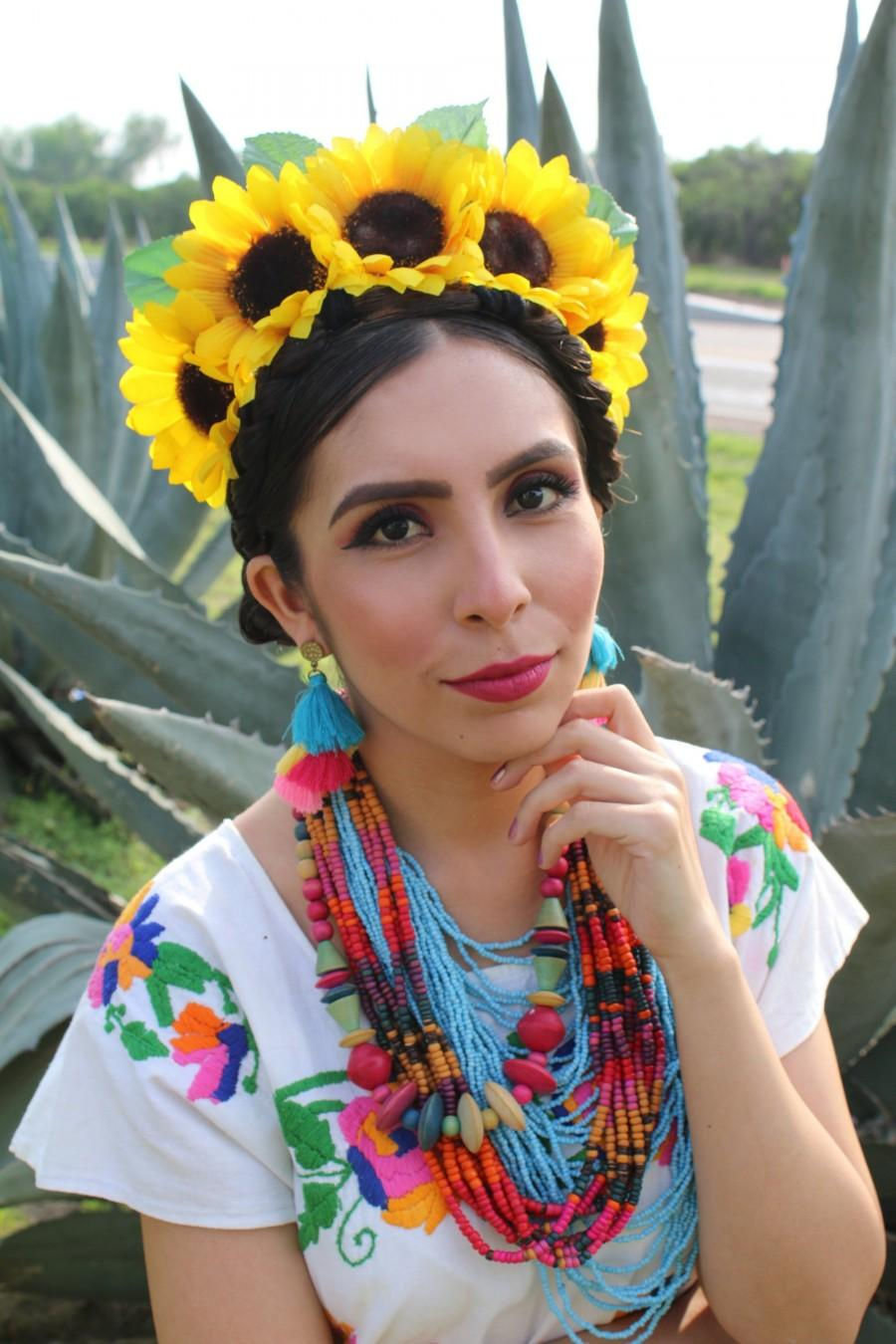 Свадьба - Yellow Sunflowers Flower Crown (Headband Headpiece Wreath Day of the Dead Costume Boho Wedding Bohemian Hippie Bridesmaids Frida)