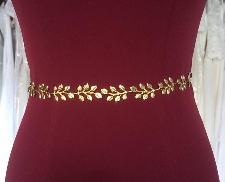 Hochzeit - Gold wedding sash Gold bridesmaid sash Gold leaf bridal sash Gold bridal sash Leaf wedding belt Gold wedding party belt Maid Of Honor Sash