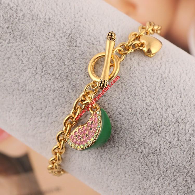 Wedding - Juicy Couture Gold-Tone Diamond Enamel Glaze Watermelon Charm Toggle Bracelet