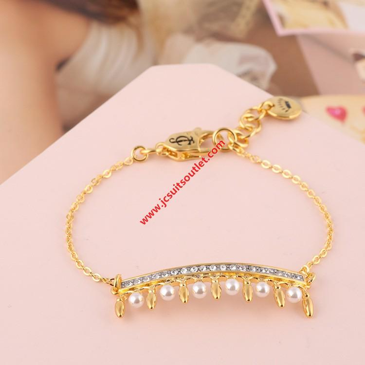 Wedding - Juicy Couture Gold-Tone Diamond Pearl Crown Charm Hook Bracelet