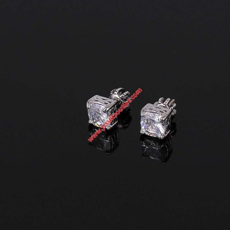 Wedding - Juicy Couture Silver-Tone Square Zircon Earrings
