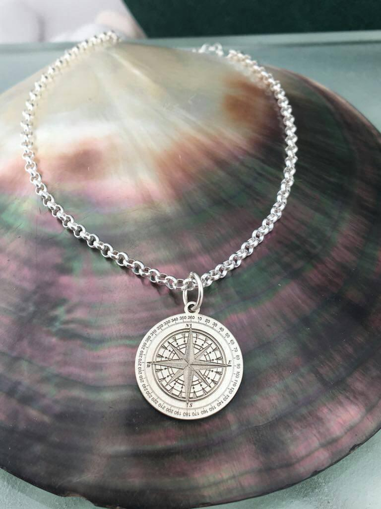 Mariage - Compass necklace, compass charm, compass gift, compass pendant, personalized compass, thick chain, Travel Necklace, Travel Jewelry Gifts