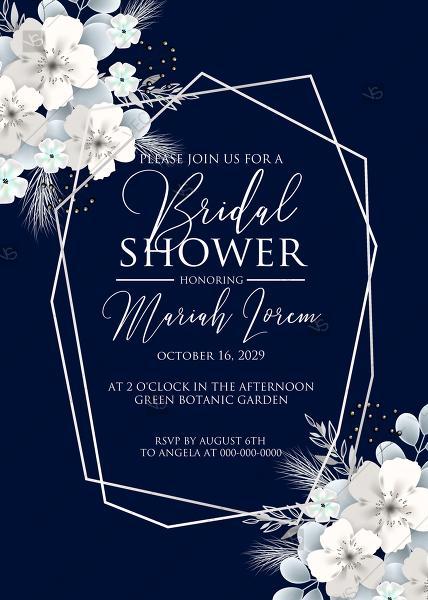 Mariage - Bridal shower invitation white hydrangea navy blue background online invite maker 5''x7''
