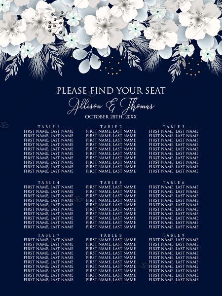 Seat Card White Hydrangea Navy Blue Background Online Invite