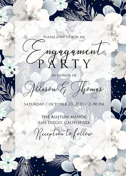 Engagement Invitation White Hydrangea Navy Blue Background