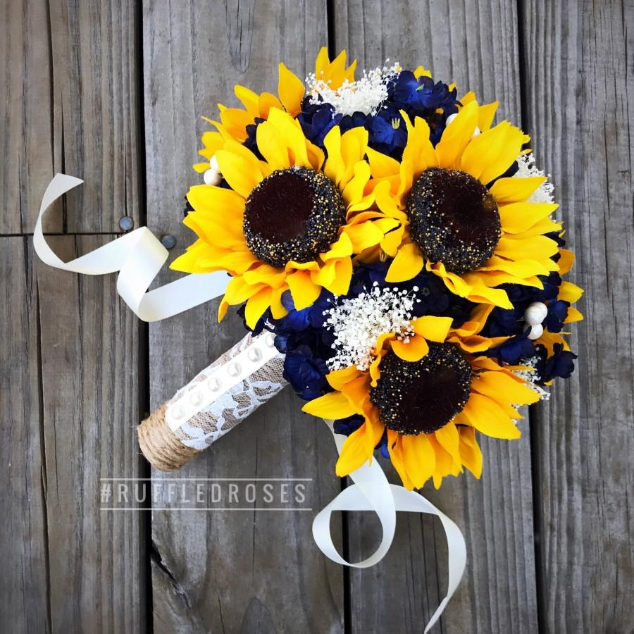 Mariage - Navy Sunflower Bouquet, Navy Blue Bouquet, Sunflower Bouquet, Rustic Sunflower Bouquet