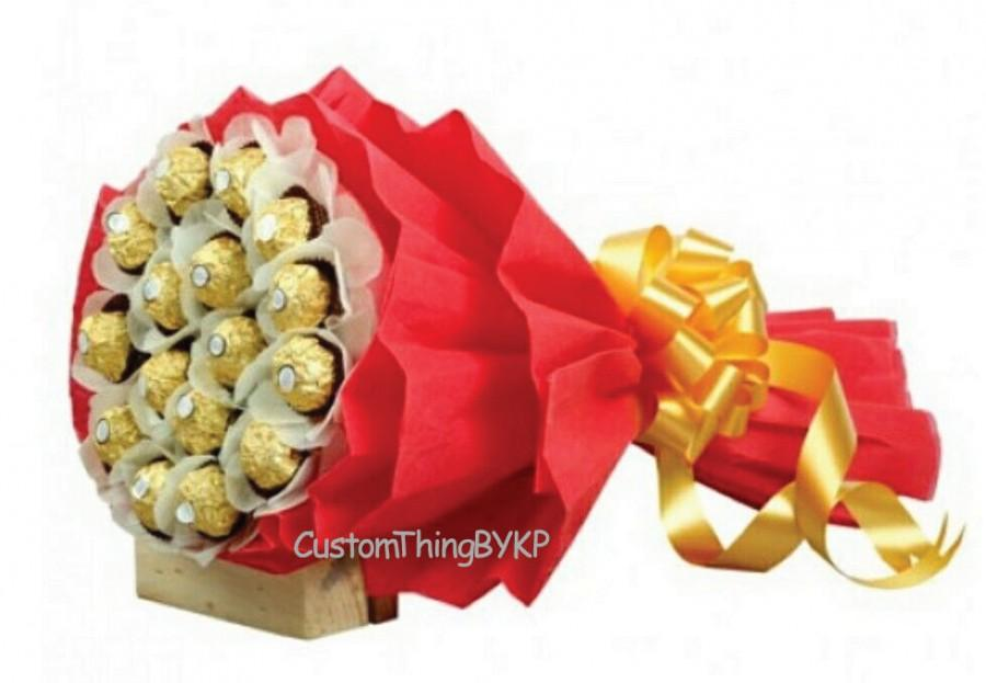 Mariage - Ferrero Rocher Chocolate Candy Bouquet birthday anniversary gift, with card (SHIP NEXT DAY)