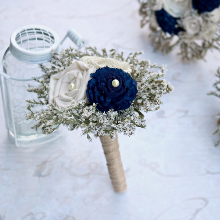 Hochzeit - Rustic Navy Toss Bouquet // Mini Navy Bouquet, Navy Blue, Wedding Flowers, Sola Flower, Rustic Burlap Wedding, Wedding Decoration Bouquet