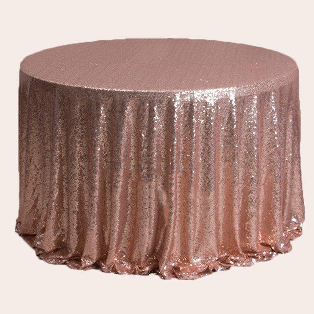 Mariage - 1pcs Rose Gold Glitter Sequin Tablecloth Engagement Anniversary Reception Ceremony Christening Birthday Wedding Cake Table Cover Backdrop