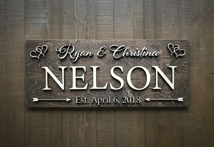 Mariage - Custom Wedding Sign / Established Sign / Wedding Gift / Bridal Shower / Anniversary / Family Name Sign / Rustic Sign / Wood sign / Last Name