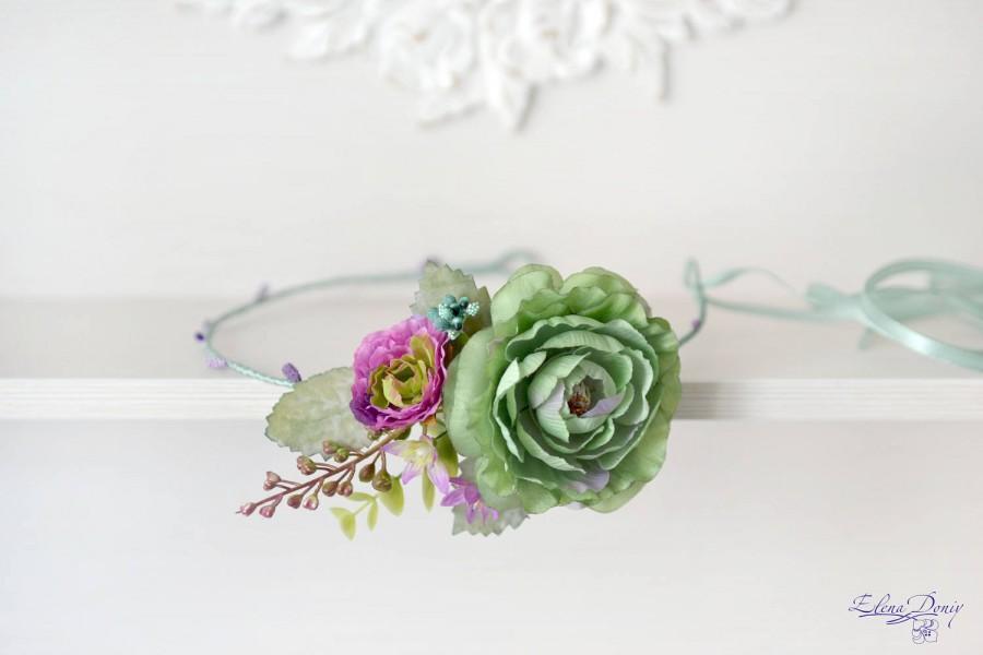 Wedding - Green mint Wedding headband flower Head wreath purple green crown Boho bridal crown Summer wedding flowers accessories hair Crown mint