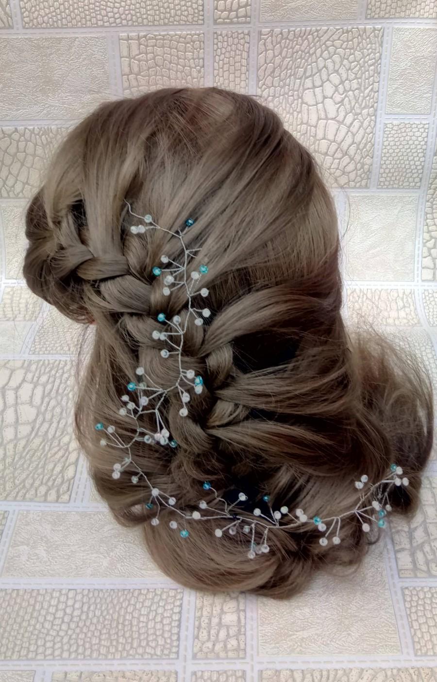 Mariage - Blue hair accessories, Bridal hair vine, wedinng hair accessories, Cristal hair vine, Bride headpiece