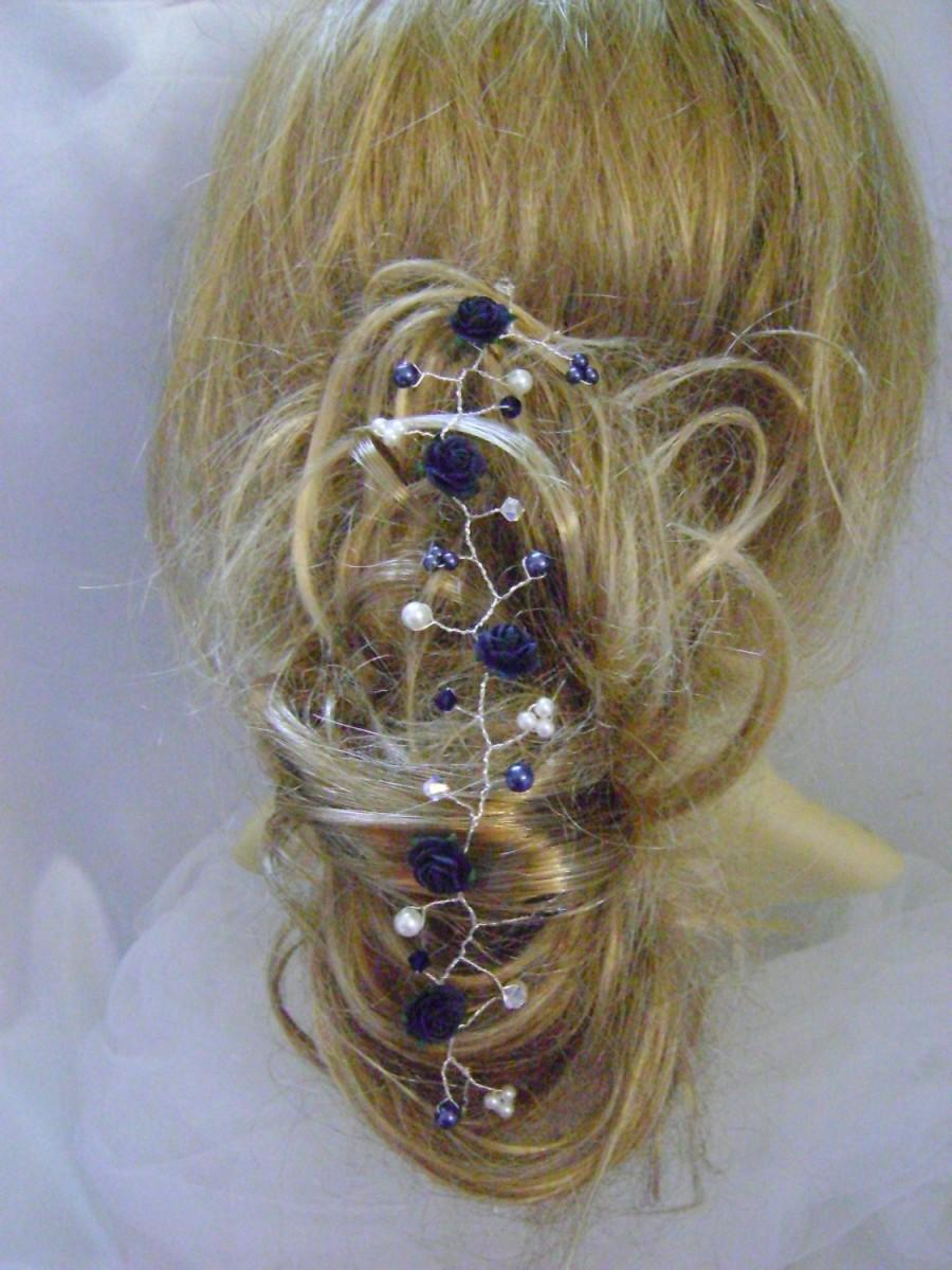 Mariage - Midnight Blue Rose Hairvine - More Colors Now Available!!