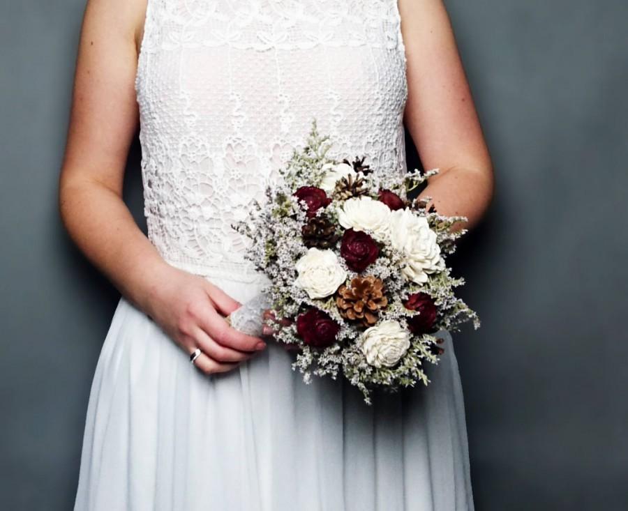 Свадьба - Winter wedding rustic wonderland small bridal bridesmaid BOUQUET Ivory Flowers pine cones burgundy cedar roses lace pearl pins dried flowers
