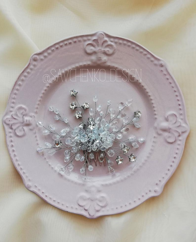Wedding - stars crystal hair comb