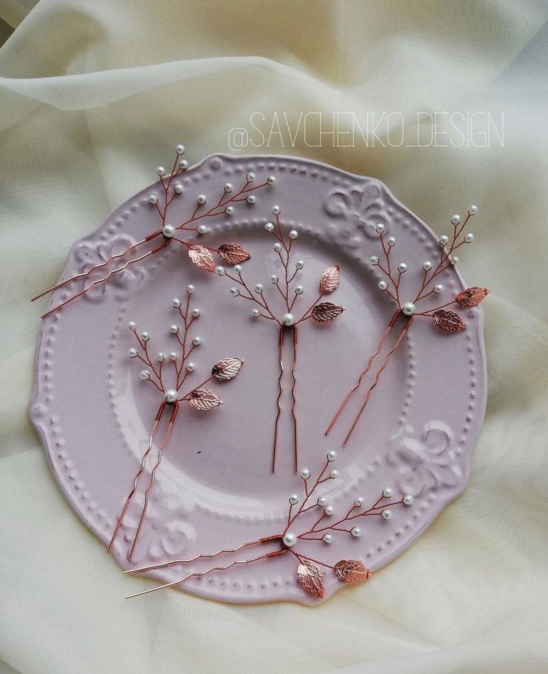 Wedding - Rose gold Leaf hair pins